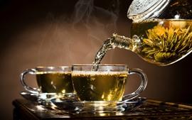 Té, hervidor, taza