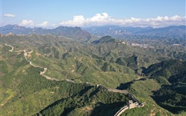 Preview wallpaper The Great Wall, top view, mountains, China