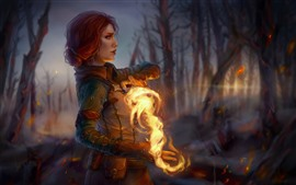 Preview wallpaper The Witcher 3: Wild Hunt, girl, magic, fire