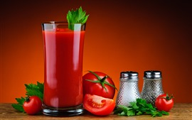 Preview wallpaper Tomato juice, drinks, glass cup, red