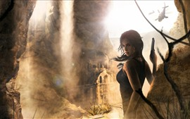 Preview wallpaper Tomb Raider, Lara Croft, ruins, helicopter
