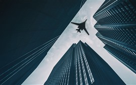 Preview wallpaper Tupolev Tu-160 bomber, skyscrapers, city
