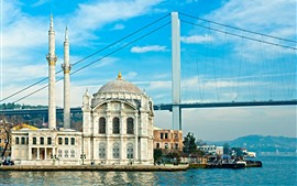 Preview wallpaper Turkey, Istanbul, mosque, bridge, river