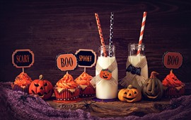 Preview wallpaper Two bottles of milk, cupcakes, pumpkin, Halloween