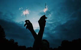 Preview wallpaper Two hands, fireworks, sparks, night
