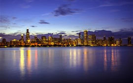 Estados Unidos, Illinois, Chicago, rascacielos, lago Michigan, noche, luces