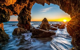 Preview wallpaper USA, Malibu, rocks, sea, cave, sunshine