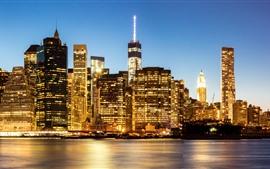 Eua, manhattan, nova iorque, cidade, à noite, arranha-céus, iluminação, rio