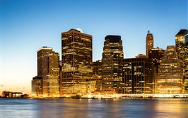 USA, Manhattan, New York, skyscrapers, night, sea, lights