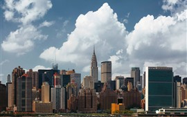 USA, New York, city, skyscrapers, clouds