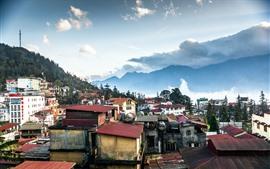 壁紙のプレビュー ベトナム、山、家、雲、日没