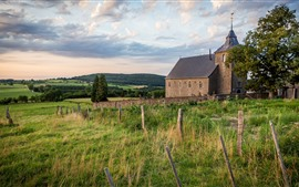 Village, fence, grass, trees, church