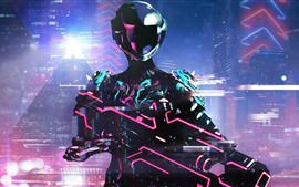Preview wallpaper Warframe, neon warrior