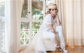 Preview wallpaper White dress girl, hat, blonde, room, window