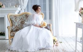 White skirt girl, bride, chair, room