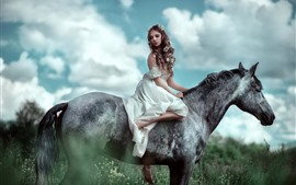 White skirt girl ride horse, flowers, clouds