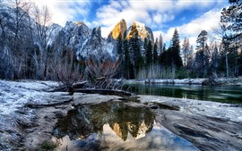 Preview wallpaper Winter, river, trees, mountains, snow, Yosemite National Park, USA