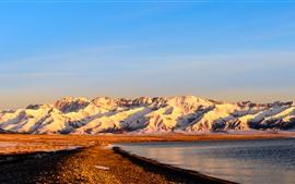Xinjiang Sailimu Lake, mountain, snow, sunrise