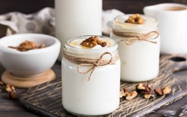 Preview wallpaper Yogurt, jars, nuts