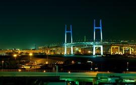 Ponte da Baía de Yokohama, Japão, cidade, noite, luzes