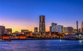 Йокогама, Япония, город, небоскребы, колесо обозрения, огни, ночь