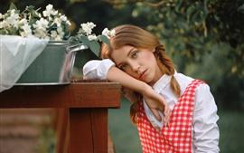 壁紙のプレビュー 若い女の子、編み物、花