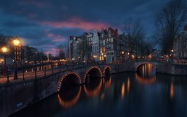 Preview wallpaper Amsterdam, Netherlands, river, bridge, night, lights, buildings