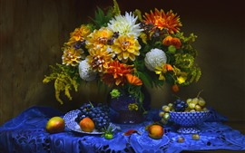 Preview wallpaper Apricot, grapes, dahlia, flowers, vase, still life