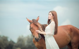 Preview wallpaper Asian girl, long hair, brown horse
