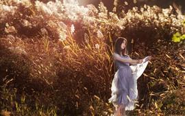 Preview wallpaper Asian girl, skirt, reeds, summer