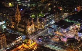 Preview wallpaper Australia, Melbourne, city night, top view, buildings, roads, illumination