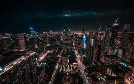 Austrália, melbourne, arranha-céus, cidade, noturna, luzes