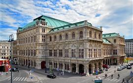 미리보기 배경 화면 오스트리아, 비엔나 오페라 하우스, 도시, 거리