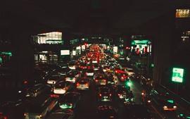 Бангкок, Сиам, городская ночь, автомобили, движение