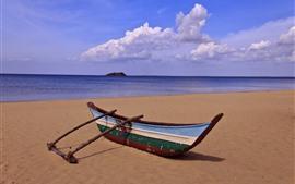Playa, barco, mar, nubes.