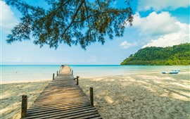 Preview wallpaper Beach, sands, pier, trees, sea, tropical