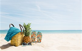 Preview wallpaper Beach, summer, sea, sunglasses, pineapple, flops, basket