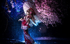 Preview wallpaper Beautiful Japanese girl, doll, umbrella, sakura, rain