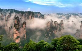 Preview wallpaper Beautiful nature landscape, Zhangjiajie, China, mountains, fog