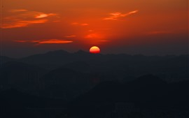 Preview wallpaper Beautiful sunset, mountains, red sun