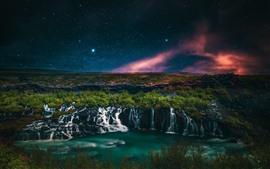 Belas cachoeiras, noite, estrelada