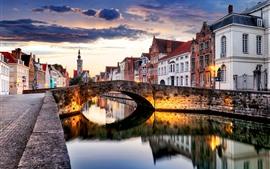 Bélgica, bruges, cidade, anoitecer, rio, ponte, casas