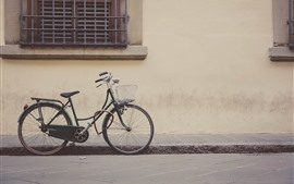 Bicicleta, calle, pared, ventana