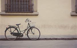 Bicicleta, rua, parede, janela