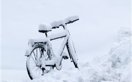 Preview wallpaper Bike, thick snow, winter