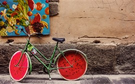 Preview wallpaper Bike, watermelon wheel, creative