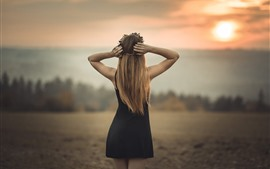 Preview wallpaper Blonde girl back view, black skirt, dusk, summer