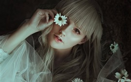 Blonde girl, flowers, hands