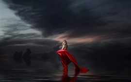 Preview wallpaper Blonde girl, red skirt, lake, water, clouds, dusk