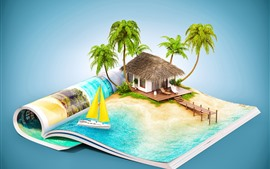 Preview wallpaper Book, resort, hut, tropical, creative picture